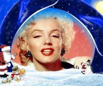 Carte de Noël fond bleu et la neige dans laquelle vous souhaitez insérer votre image, sont le Père Noël, un garçon et des bonhommes de neige.