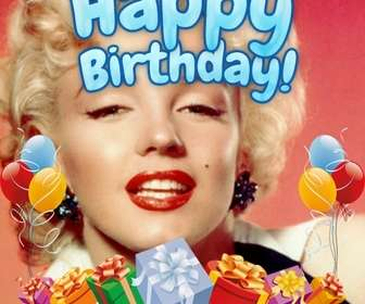 """Photomontage pour faire de votre photo une carte d""""anniversaire. La composition vous un joyeux anniversaire en bleu. La carte est décoré avec des ballons colorés et des cadeaux."""
