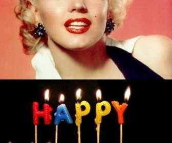 """Modèle pour créer une carte d""""anniversaire personnalisé avec votre photo, vous pouvez télécharger d""""ajouter ces bougies avec le texte couleurs de l""""anniversaire. Votre photo apparaîtra dans l""""arrière-plan."""