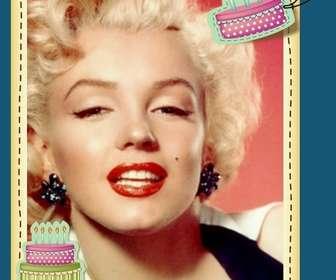 """Modifier une carte d""""anniversaire par l""""ajout d""""un cadre photo numérique à ce fond bleu et les gâteaux raisons anniversaire. Imprimez votre carte ou les envoyer par e-mail, d""""une manière simple et gratuite."""