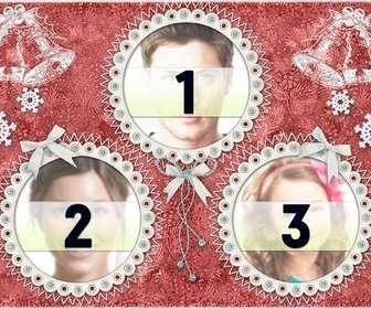 Carte de Noël pour 3 photos avec des cadres ronds et cloches de Noël.