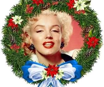 Cadre photo rond Ornement de Noël en forme où vous pouvez mettre votre photo de fond. Pour envoyer par e-mail.