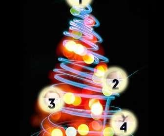 arbre noel photomontage ou vous pouvez mettre 4 photos sur les boules lumineuses