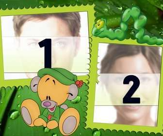 cadre pour deux photos dans les feuilles vertes qui nourrissent principalement dquotune chenille et un ours peluche assis sur le sol caricature