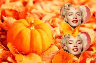collage pour deux photos avec une citrouille et chute des feuilles