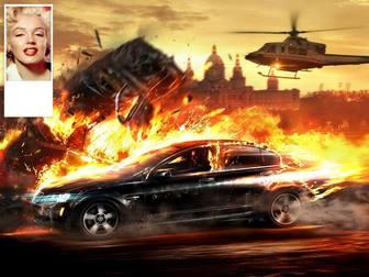 """Mettez votre photo twitter d""""une voiture de course brûlante avec votre photo sur le côté."""