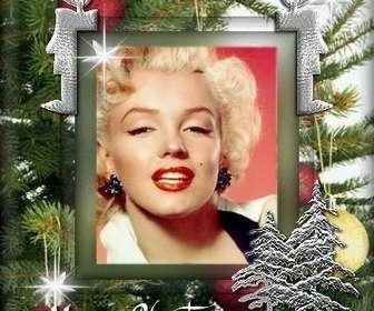 """Carte de Noël personnalisable avec une photo. Contexte de l""""arbre de Noël, avec animation."""
