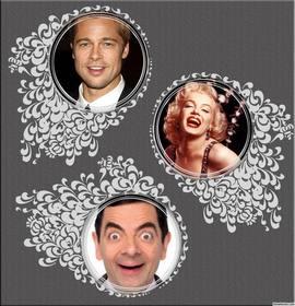 collage decoratif pour editer trois photos avec des ornements floraux effet ligne