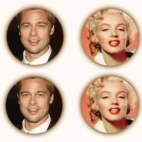 creer un collage compose quatre photographies circulaires avec filtre sepia et lombrage autour chaque photo