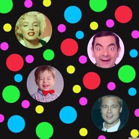 collage photo originale avec des points colores pour ajouter quatre photos