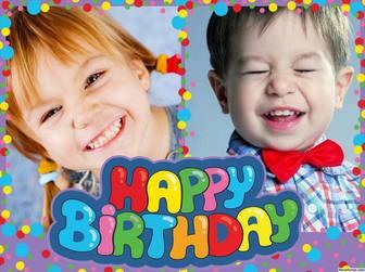 Collage coloré et joyeux Joyeux anniversaire à éditer avec deux photos