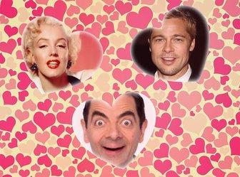 Collage damour avec trois coeurs pour insérer trois photos