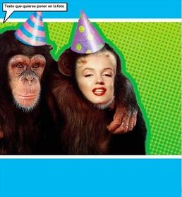 Photomontage avec un singe habillé avec chapeau de fête.