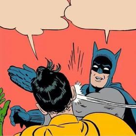 Créateur de photomontages de la scène où Batman lui donne une claque à Robin.