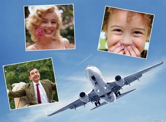 collage gratuit pour trois photos avec un ideal davion pour les voyageurs