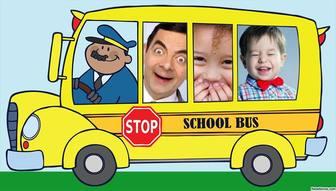 collage photos pour trois photos dun drole bus