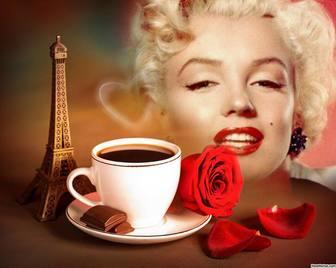 Effet photo de lamour avec la Tour Eiffel de Paris et un café.