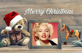 Noël effet photo avec un ours en peluche pour télécharger votre photo
