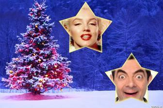 collage noel avec un arbre mettre deux photos