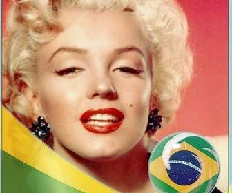 Montage avec le drapeau du Brasil ajouter vos photos de fond.