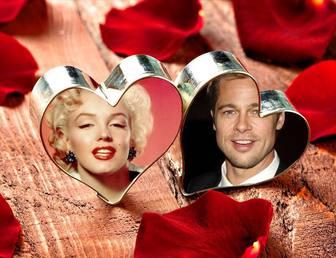 Collage damour avec vos deux photos danneau de coeurs.