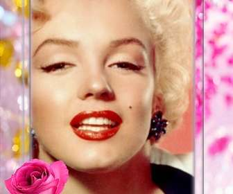 Cadre photo avec une rose, entouré par de belles perles et de diamants.