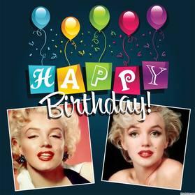 carte editable avec des ballons et le texte colore happy birthday