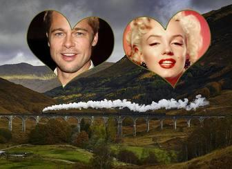carte postale pour deux photos avec une image dun pont lautomne