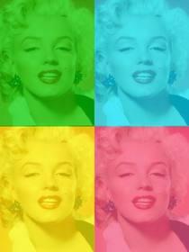 Pop Art boîte personnalisée avec votre photo, vert, bleu, jaune et rose. Envoyer une photo, le découper et ensuite appliquer ce filtre en utilisant cette page en tant que logiciel de retouche photo gratuit.