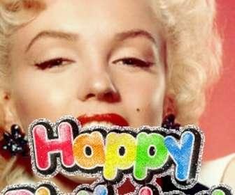 """Photomontage pour faire votre propre carte d""""anniversaire, vous pouvez personnaliser avec une photo. Le modèle de ce photomontage, le texte est un univers coloré, joyeux anniversaire, lumineux animé. Pour souhaiter un joyeux anniversaire."""