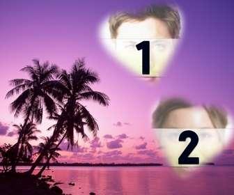 Carte où vous pouvez mettre deux photos en forme de cœur avec un paysage idyllique de la mer et les palmiers dans les tons de lilas.