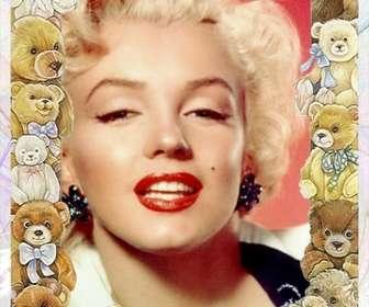 Cadre photo avec des photos de bébés ours autour de votre image.