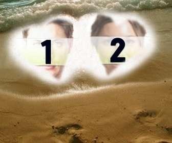 creez une carte personnalisee pour saint-valentin ligne fonds pour les deux photos represente avec deux coeurs dans le sable sur plage comme un cadre