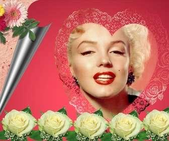 """Photomontage constitué d""""un rose romantique dans votre photo apparaît dans un cadre en forme de cœur accompagné de fleurs et de papier d""""emballage. Idéal pour les amoureux. Pour envoyer un e-mail cette Saint-Valentin."""