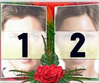 elegant montage deux photos dans un cadre vert et rouge motifs floraux avec des roses les deux ideal pour un couple dans lquotamour comme un rappel des dates importantes et saint-valentin
