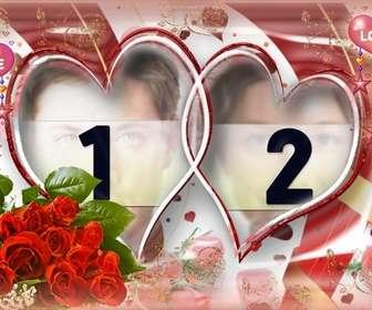 tres elaboree cadre photo avec des roses et des coeurs