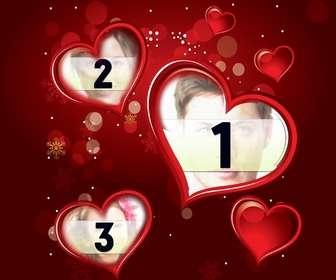 Cadre rouge pour une photographie numérique qui apparaît dans trois cœurs. Complétez votre cadeau amour du détail cette Saint-Valentin.