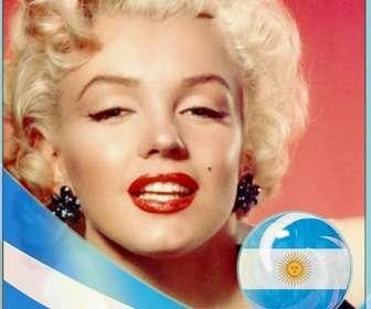 Cadre photo avec le drapeau de lArgentine pour mettre une photo de vous.