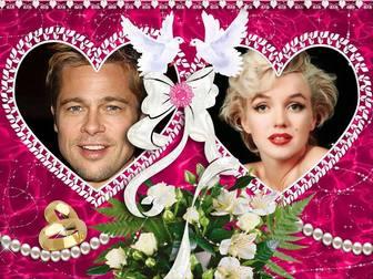 cadre photo avec deux coeurs pour saint valentin