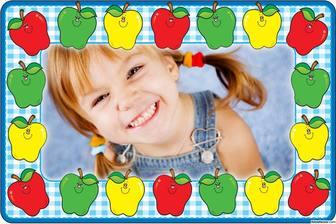 Ligne cadre photo avec des pommes colorées pour décorer vos photos gratuitement photomontages en ligne