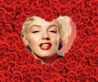 Cadre photo en forme de coeur rempli de roses rouges pour vos photos romantiques amour.