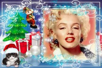 Cadre photo de Noël avec plusieurs cadeaux et un chaton.