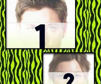 creer un collage avec du vert et jaune motifs zebre et deux photos ligne