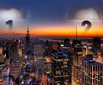 dans ce collage votre photo apparait deux fois jete dans le ciel new rk image spectaculaire dquotun coucher soleil avec les lumieres des gratte-ciel eclaires