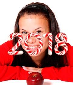 Félicite la nouvelle année 2018 avec les chiffres en forme de bonbons