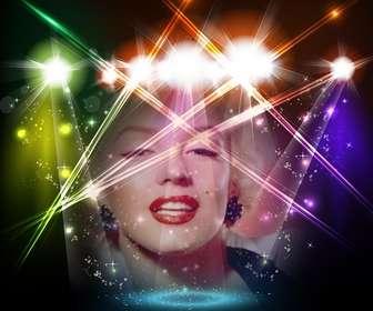 Photomontage de scène musicale avec des lumières colorées avec votre photo