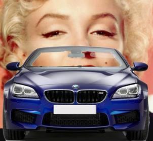 """Conduire une BMW décapotable bleu avec ce photomontage dans lequel vous pouvez mettre votre photo à regarder comme vous êtes au volant d""""une voiture."""