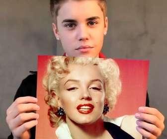 Photomontage avec Justin Bieber avec les cheveux courts tenant votre image.