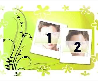 decorez vos photos avec ce modele pour deux photos fond vert et le style des cadres polaroid envoyer deux images suivre quelques etapes simples et telecharger ou envoyer pour composition photographique libre