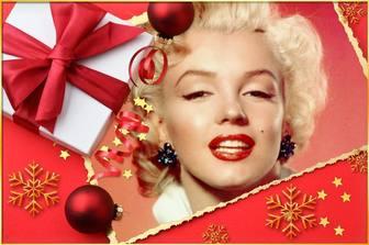Carte de Noël avec un cadeau et une cravate pour mettre votre image.